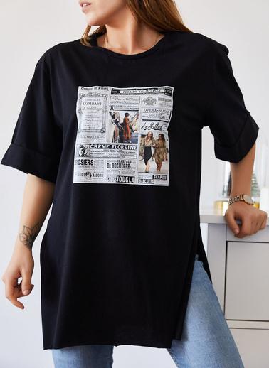 XHAN Gazete Baskılı Boyfriend Yırtmaçlı Tişört 9Kxk1-43319-02 Siyah